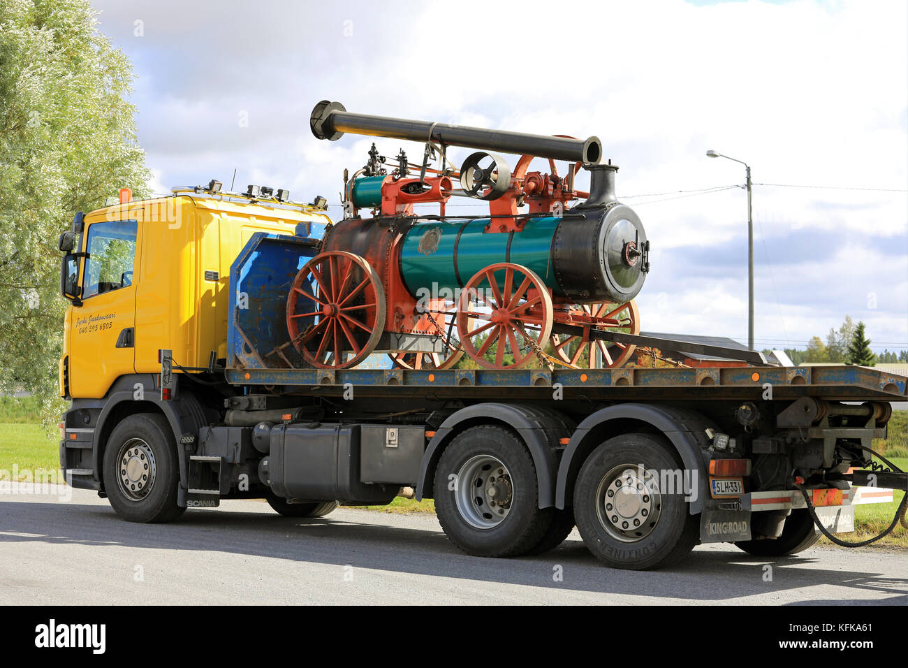 KOSKI TL, FINLAND - SEPTEMBER 1, 2017: Steam Traction Engine by Ruston, Proctor & Co, likely year 1899 transported - Stock Image