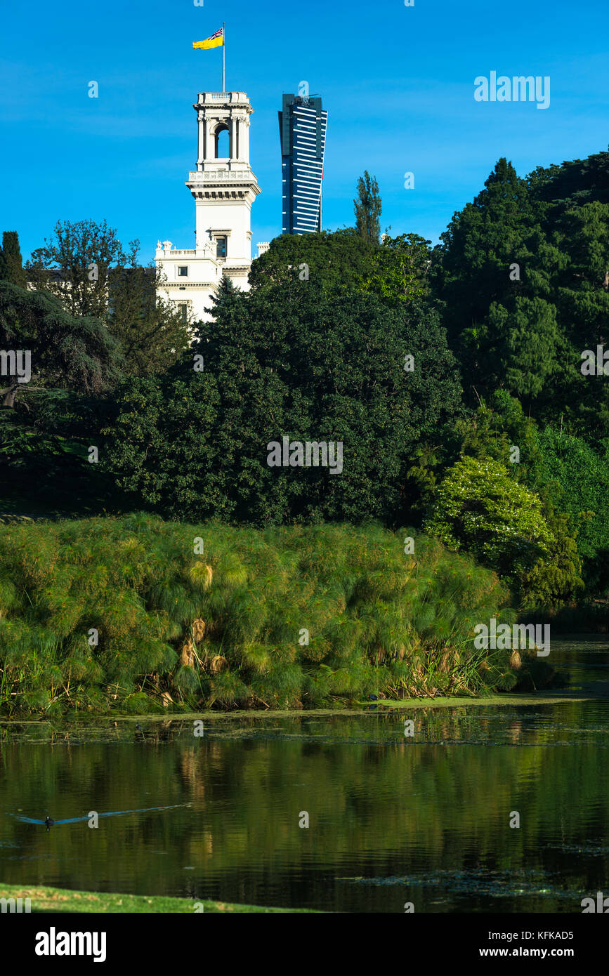 The Royal botanic gardens with Government House, Melbourne, Australia - Stock Image