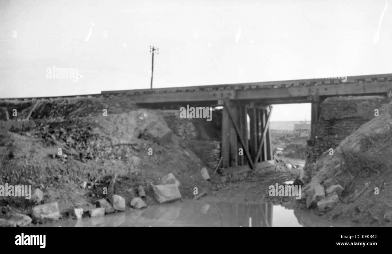 The Dernancourt railway bridge, after it had been repaired following its recapture in August 1918. Heavy fighting - Stock Image