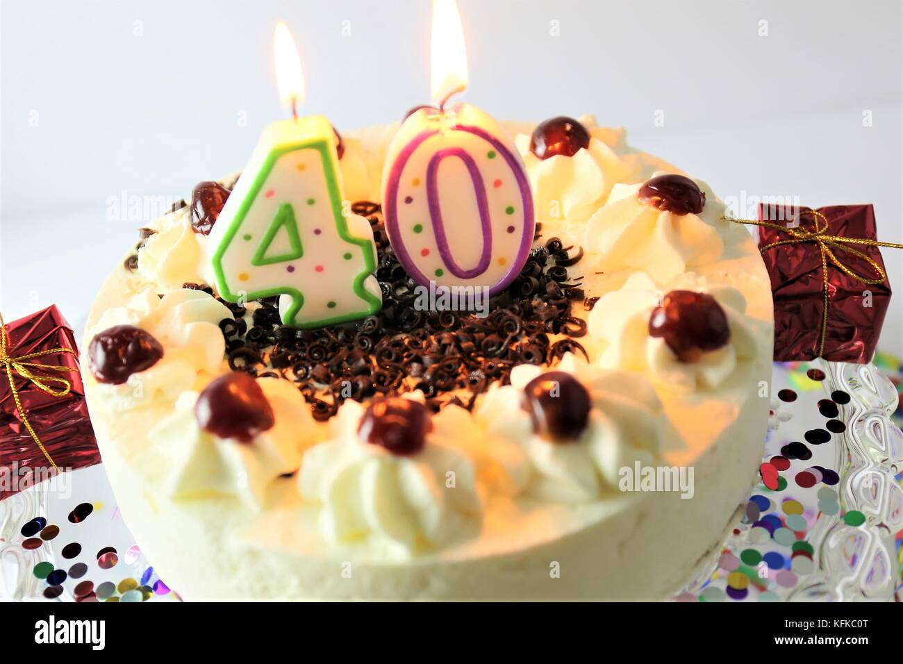 An Image Of A Birthday Cake With Candle 40 Stock Photo 164539672