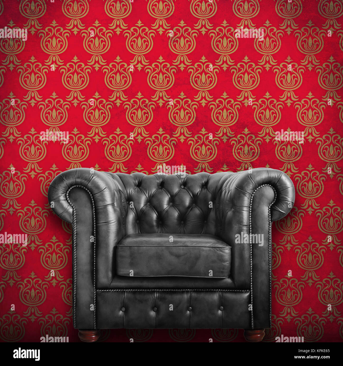 Classic Black Leather Armchair With Red Wallpaper Background