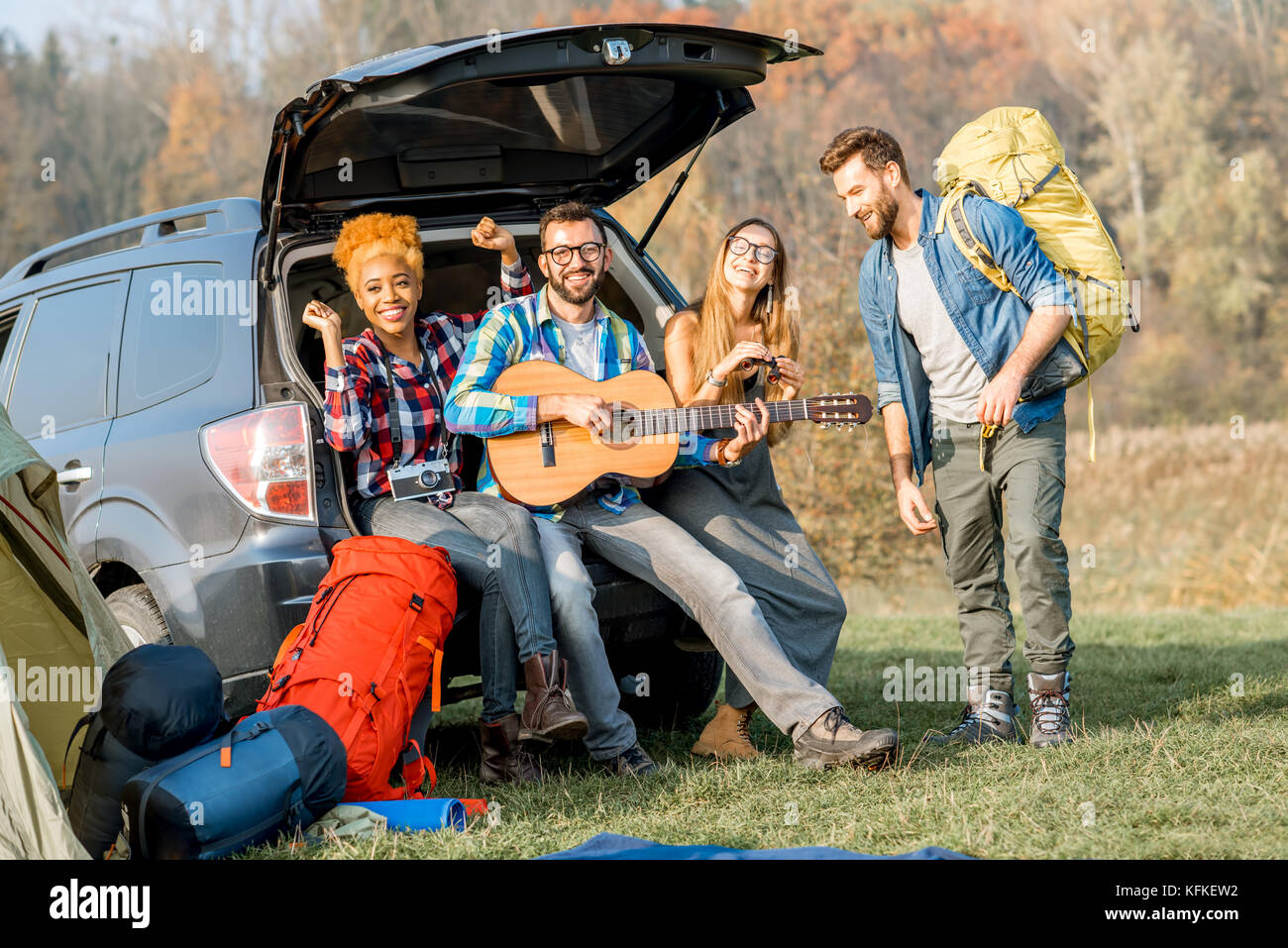 Friends during the outdoor recreation - Stock Image