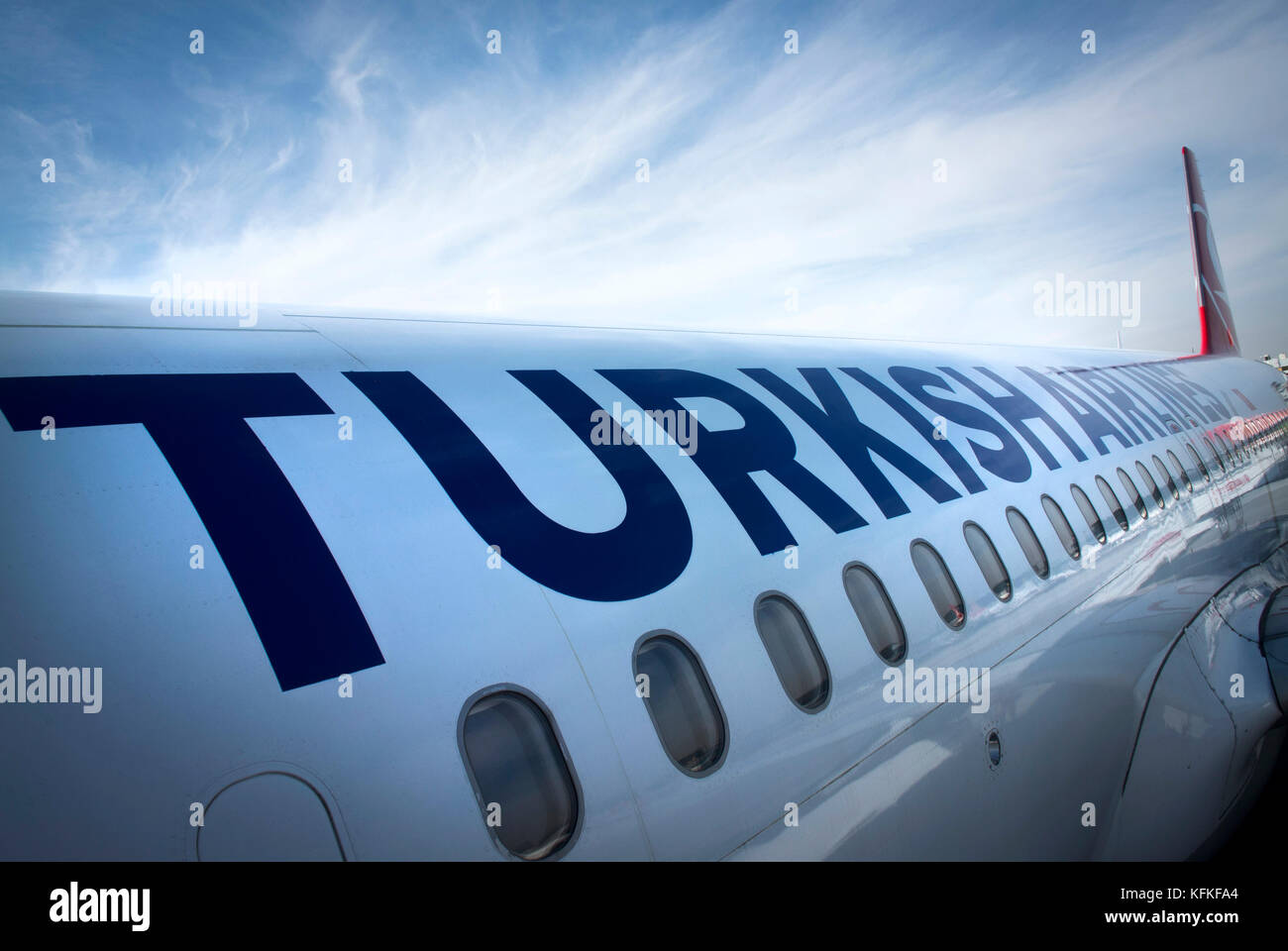 Turkish Airlines plane at Istanbul airport. - Stock Image