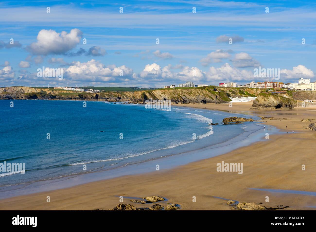 Great Western Beach and Towan Beach, Newquay, Cornwall, England, Great Britain - Stock Image