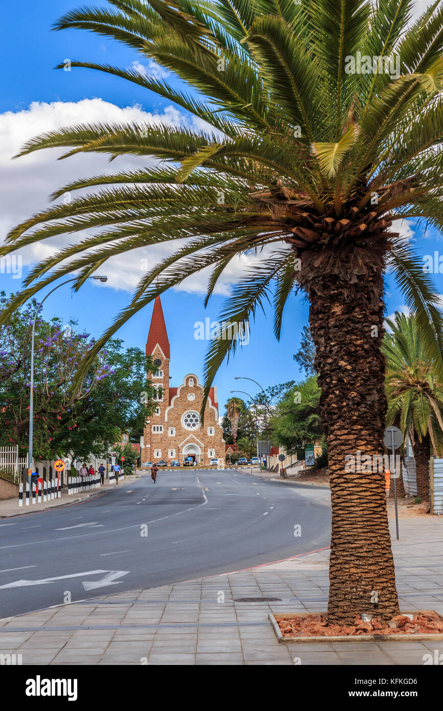 Rows of palm trees and modern building on the central street of Windhoek, Namibia - Stock Image