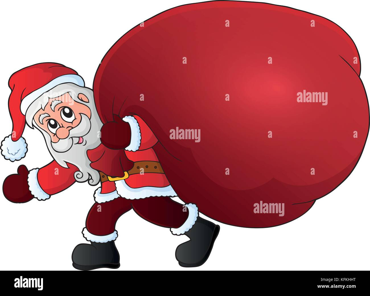 fdb4723ed1cb9 Santa Claus with big gift bag theme 1 - eps10 vector illustration. - Stock  Vector