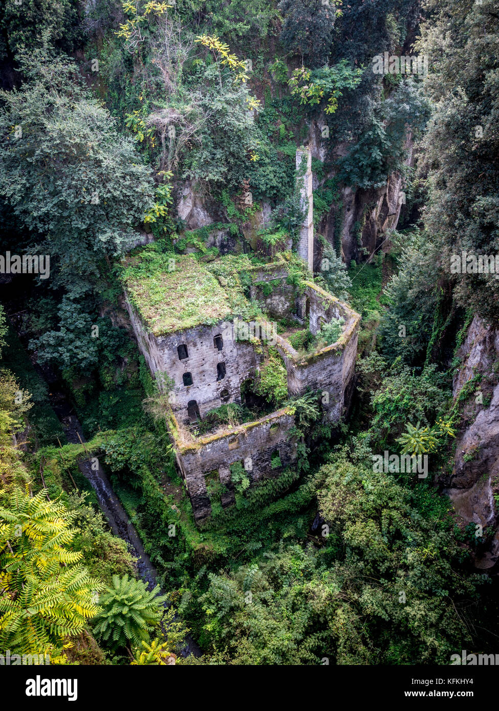 Valle dei Mulini. Ruins of a disused flour mill in a gorge. Sorrento. Italy. - Stock Image