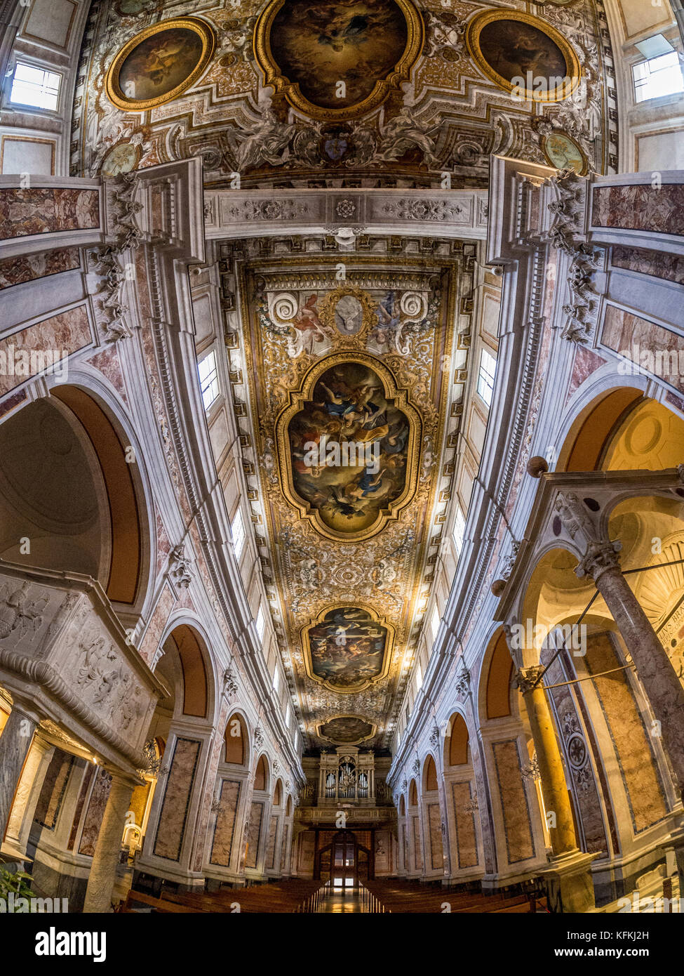 Fisheye shot of the aisle and ceiling of Sorrento Cathedral, Sorrento, Italy. - Stock Image