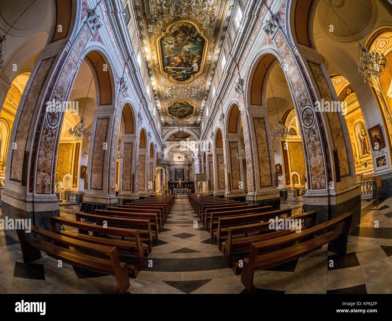 Fisheye shot of the aisle inside Sorrento Cathedral, Italy - Stock Image