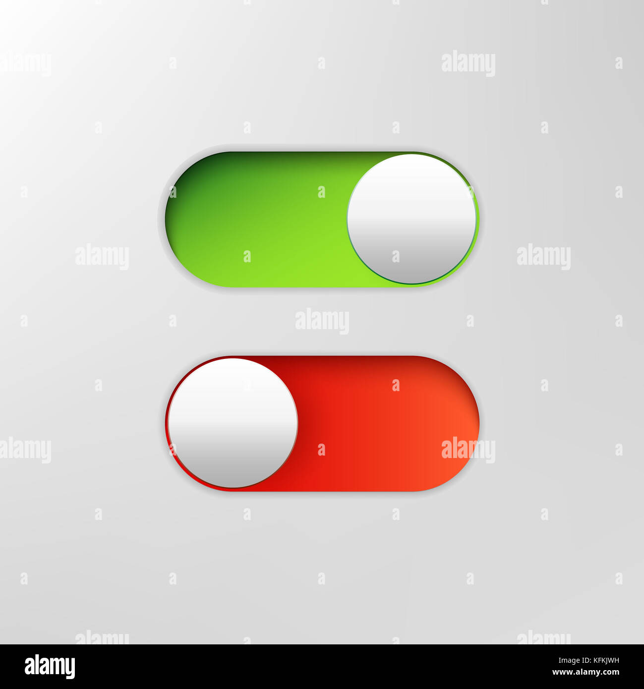 Phone switch icon. On off toggle for design applications. Phone slider bar. - Stock Image