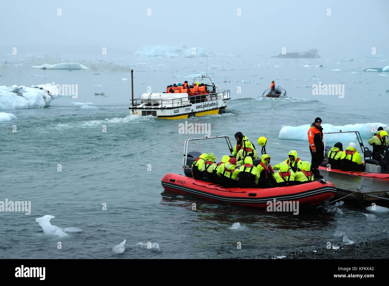 Tourists In Zodiac Boats Leaving Shore Jokulsarlon Glacial Lagoon