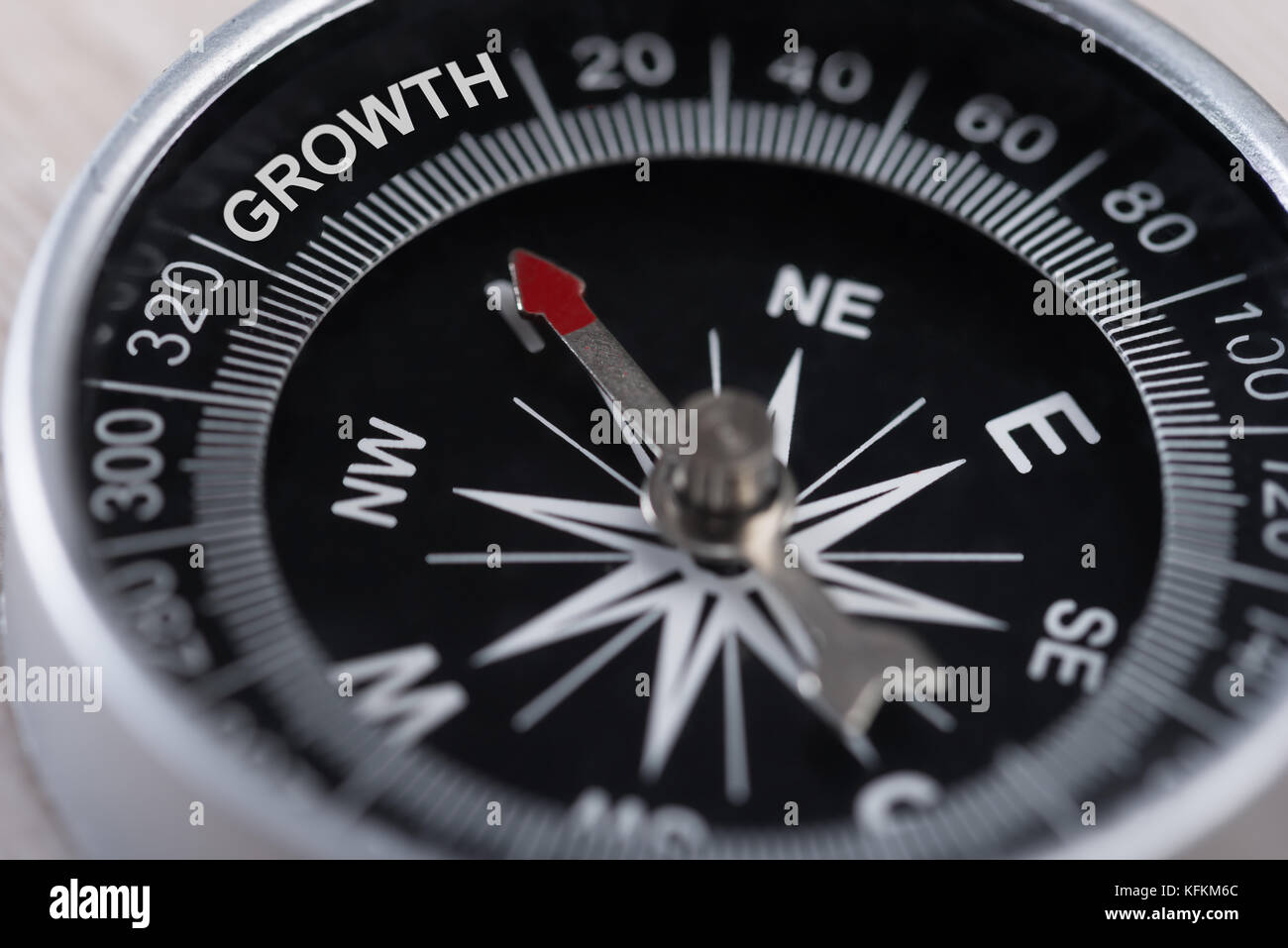 Closeup of compass indicating Growth. Business Growth Concept - Stock Image