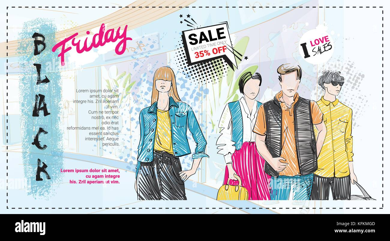 c44e310bfb Black Friday Sale Template Brochure With Hand Drawn Fashion Models And Copy  Space