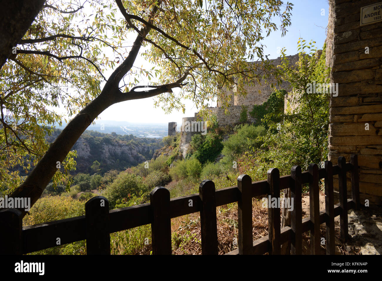 Medieval Mornas Fortress, Château or Castle (c11th-c14th) dominating the Rhône Valley in the Vaucluse - Stock Image