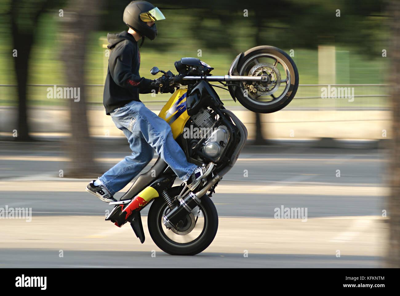 Stuntman execution the special wheeling Coaster watata - Stock Image