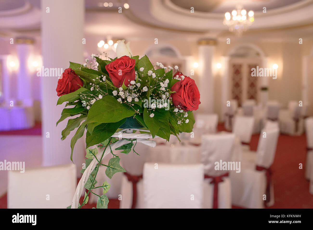 Red Roses Centerpiece At A Wedding Reception Decorative Display Of