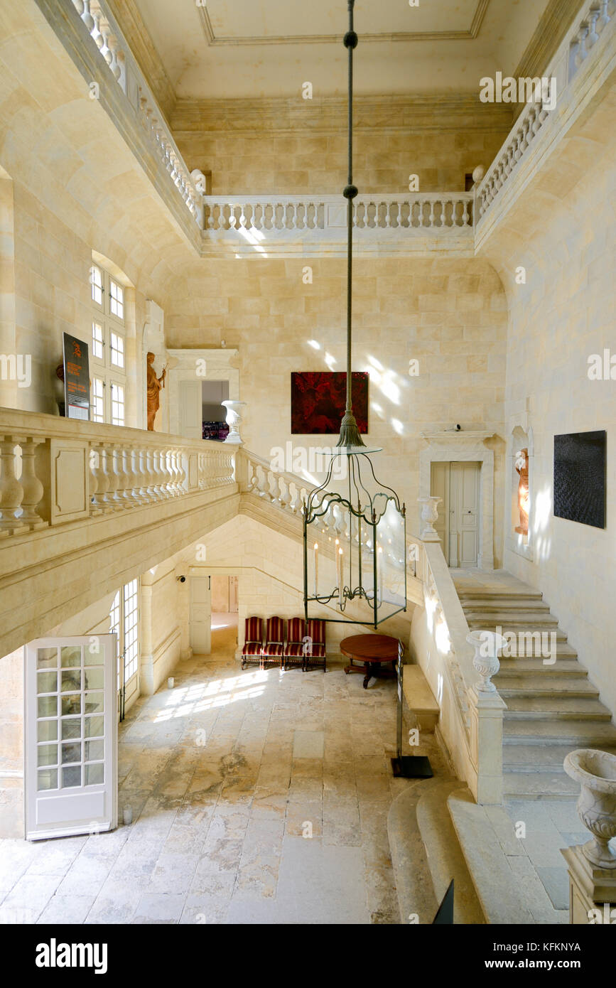 Main Staircase and Entrance Hall, Suze-la-Rousse Château, Chateau or Castle, Drome or Drôme, France - Stock Image