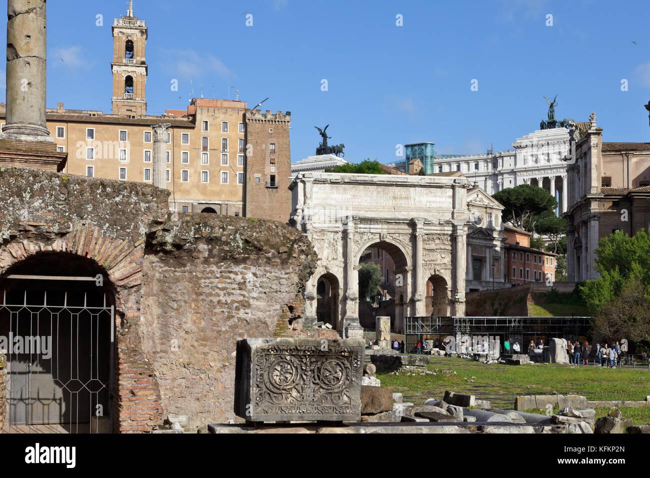Roman Forum (Latin: Forum Romanum, Italian: Foro Romano), Rome, Italy - Stock Image