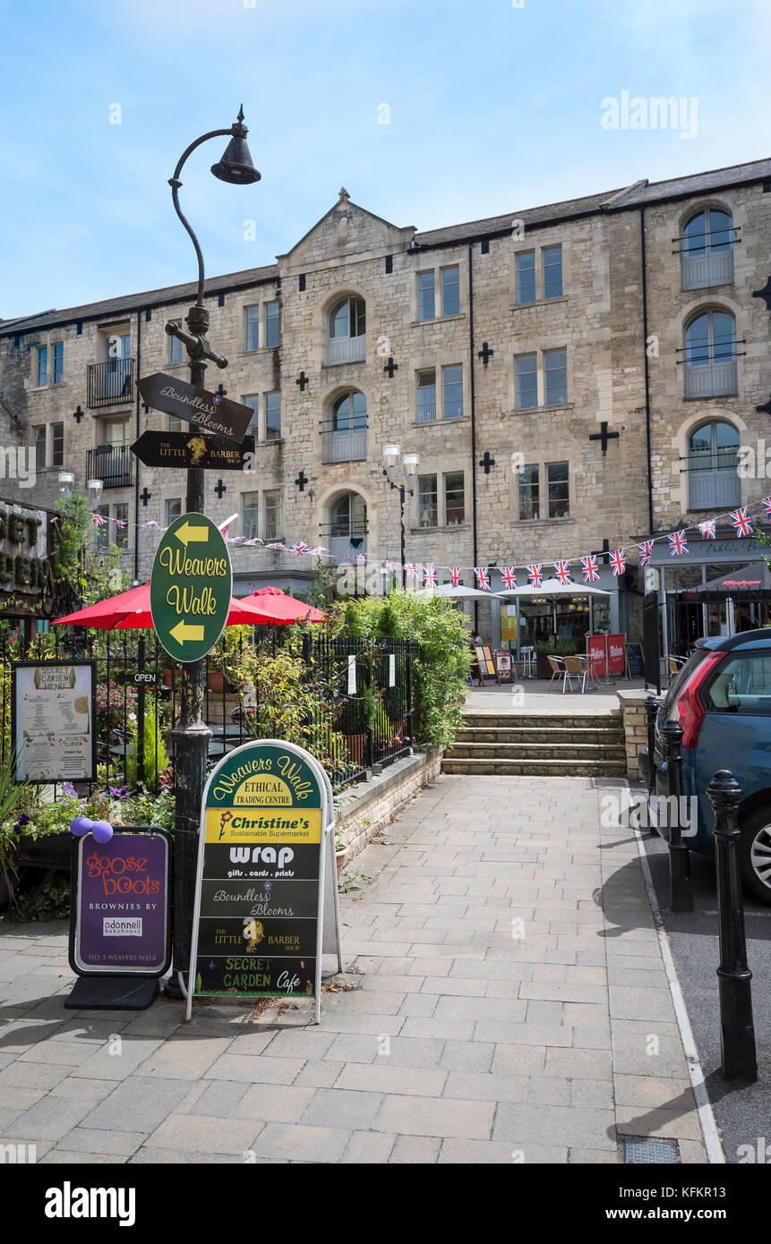 A former famous rubber factory site redeveloped to provide an interesting new shopping area in Bradford on Avon - Stock Image