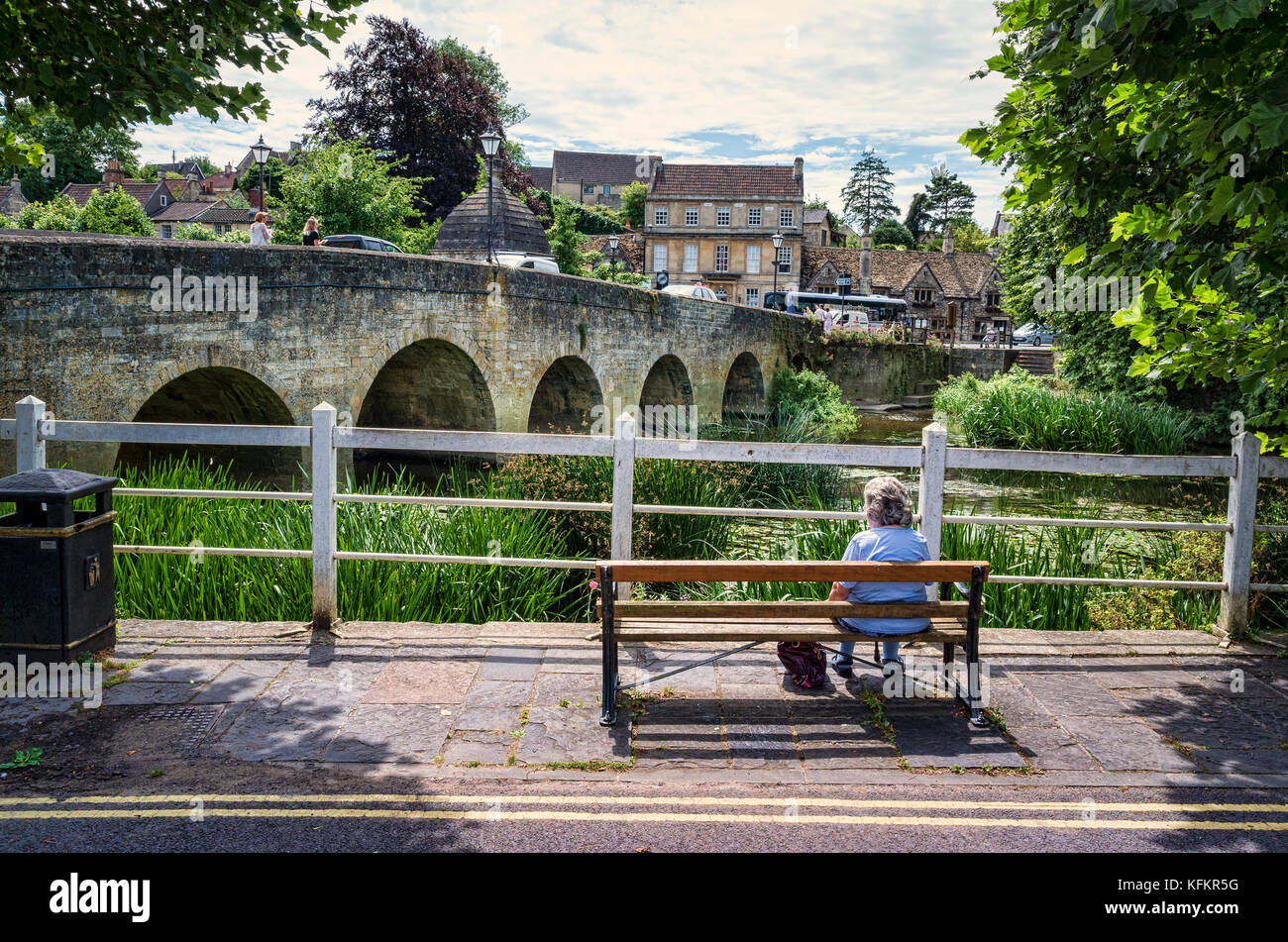 Resting beside the river Avon in Bradford on Avon Wiltshire England UK - Stock Image