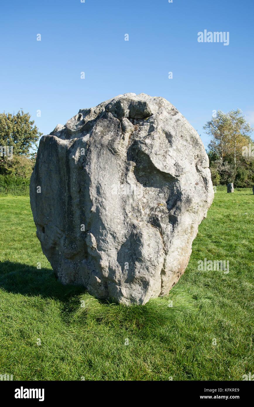 Solitary stone at Avebury Wiltshire England UK Stock Photo
