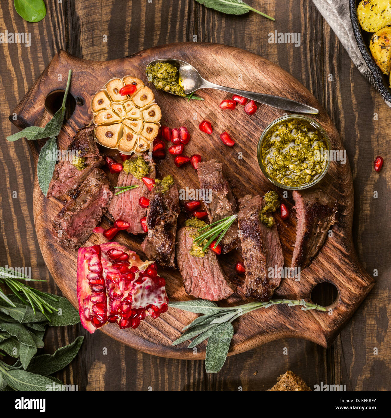 Meat steak with green pesto - Stock Image