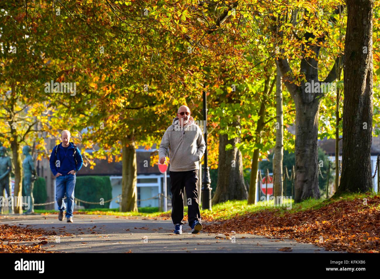 Dorchester, Dorset, UK. 30th Oct, 2017. UK Weather. Pedestrians walks along South Walks in Dorchester in Dorset Stock Photo