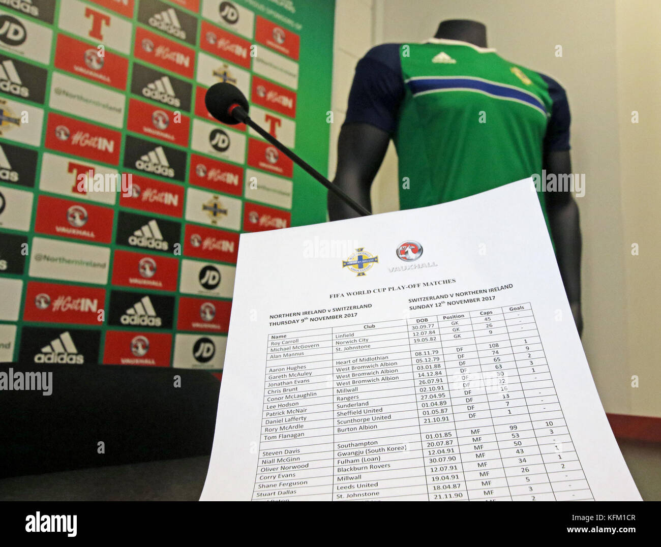 Windsor Park Belfast Northern, Ireland. 30th Oct, 2017. Northern Ireland manager Michael O'Neill named his squad - Stock Image