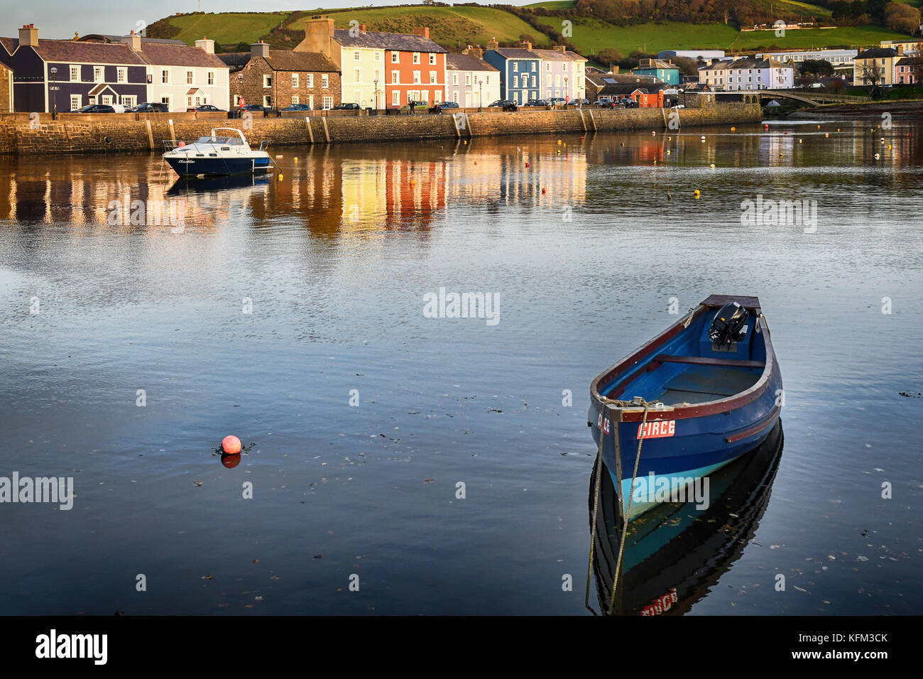 Aberaeron Harbour, Aberaeron, Ceredigion West Wales UK Monday 30th of October 2017 UK Weather Loverly end to the - Stock Image