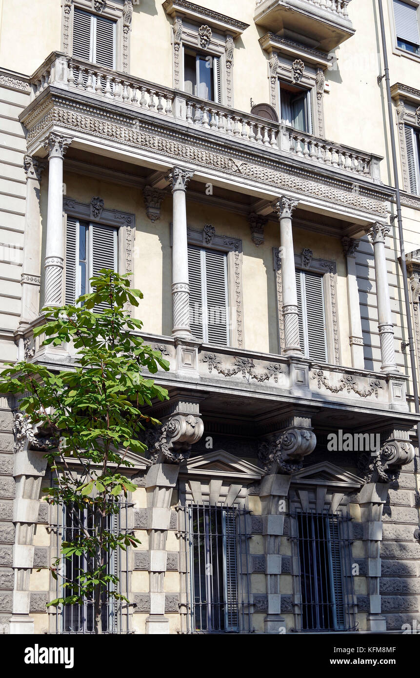 Massive stone first floor stone loggia, bracketed off grand apartment building - Stock Image