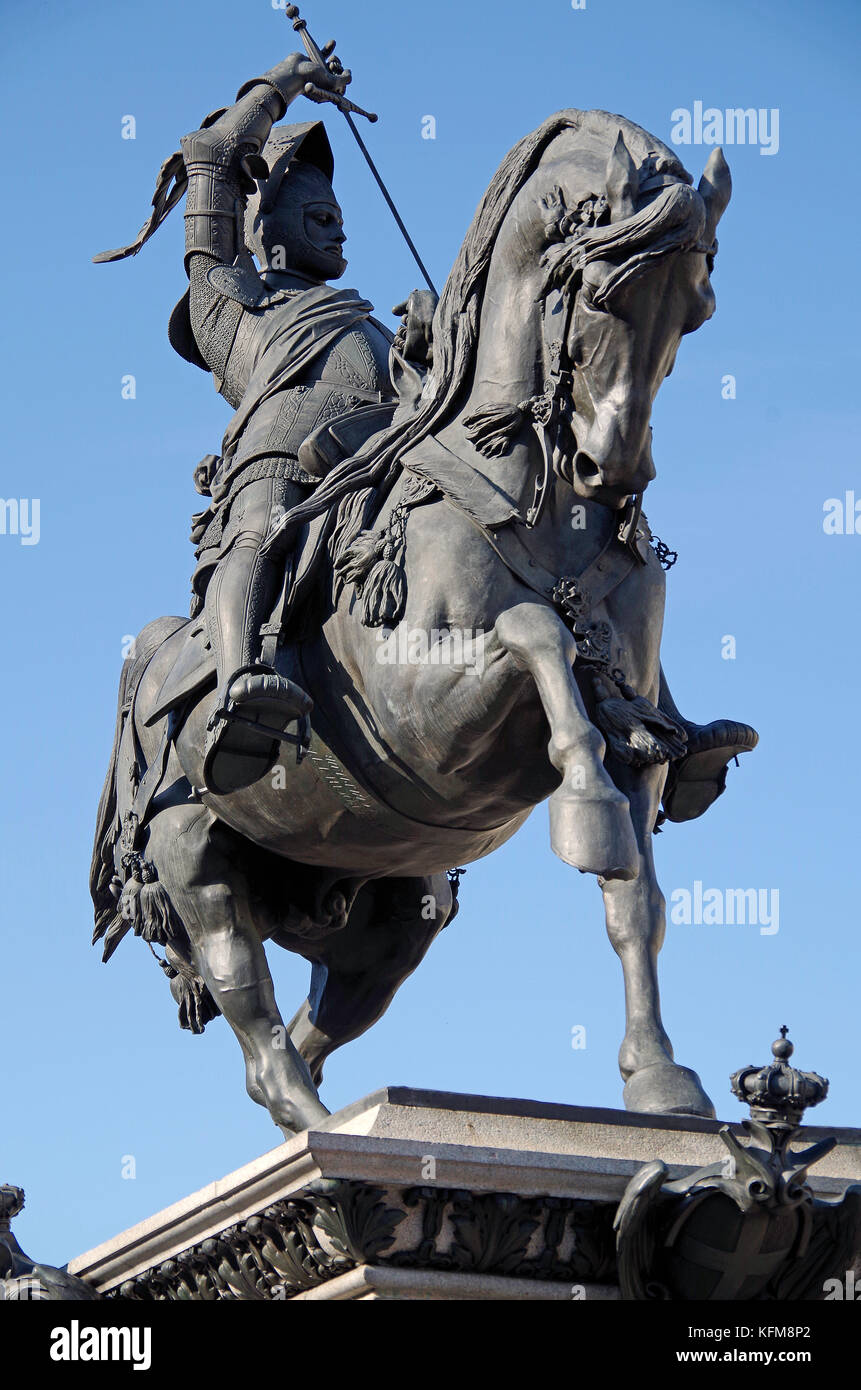 Statue of Emmanuel Philibert, in the Piazza S. Carlo, Turin, Italy - Stock Image