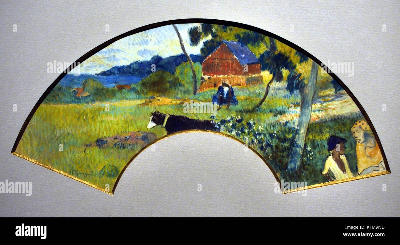 Éventail au Paysage de Martinique - Fan with the Landscape of Martinique 1887 Paul Gauguin - Eugène Henri - Stock Image