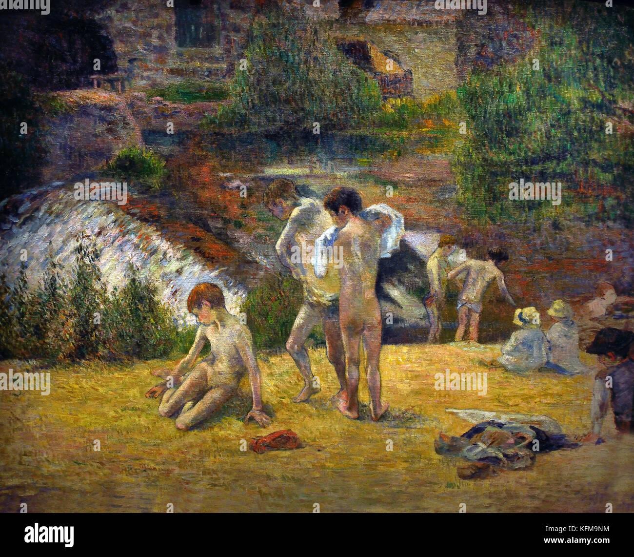 La Baignade au Moulin du bois D'Amour  Bathing ât thé Moulin du Bois D'Amour 1886 1886 Paul Gauguin - Stock Image