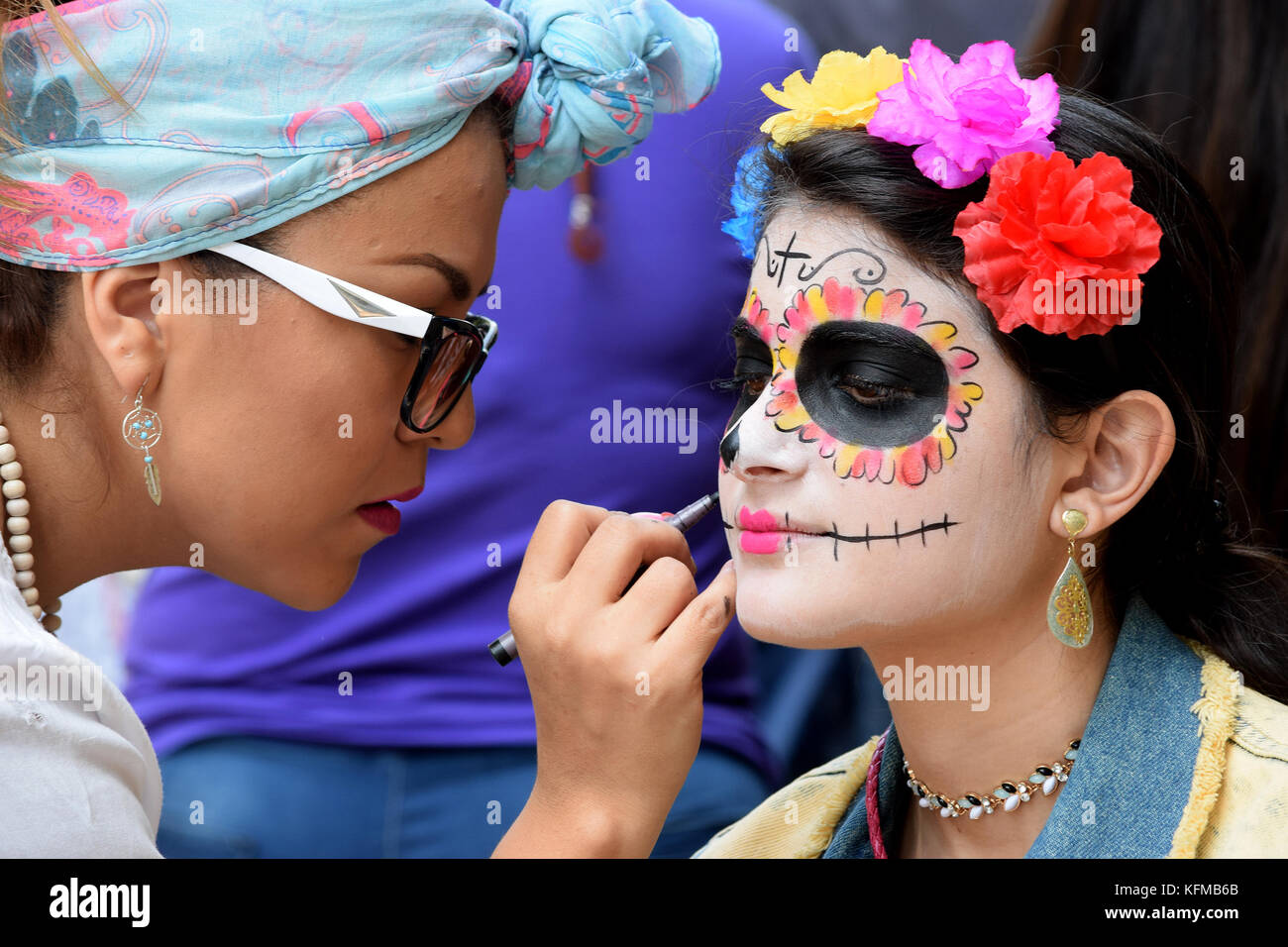 October 28, 2017, Mexico City, MEXICO. With two main themes, Mexicans enjoyed a five-kilometer tour to celebrate - Stock Image