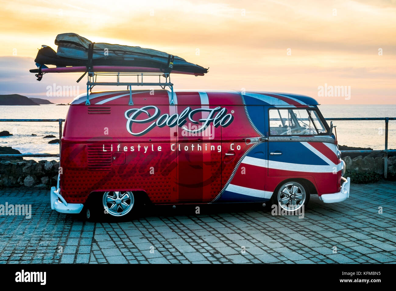 25f1f39c39 A vintage Volkswagen Camper van painted in the colours of the Union Flag  parked at Little