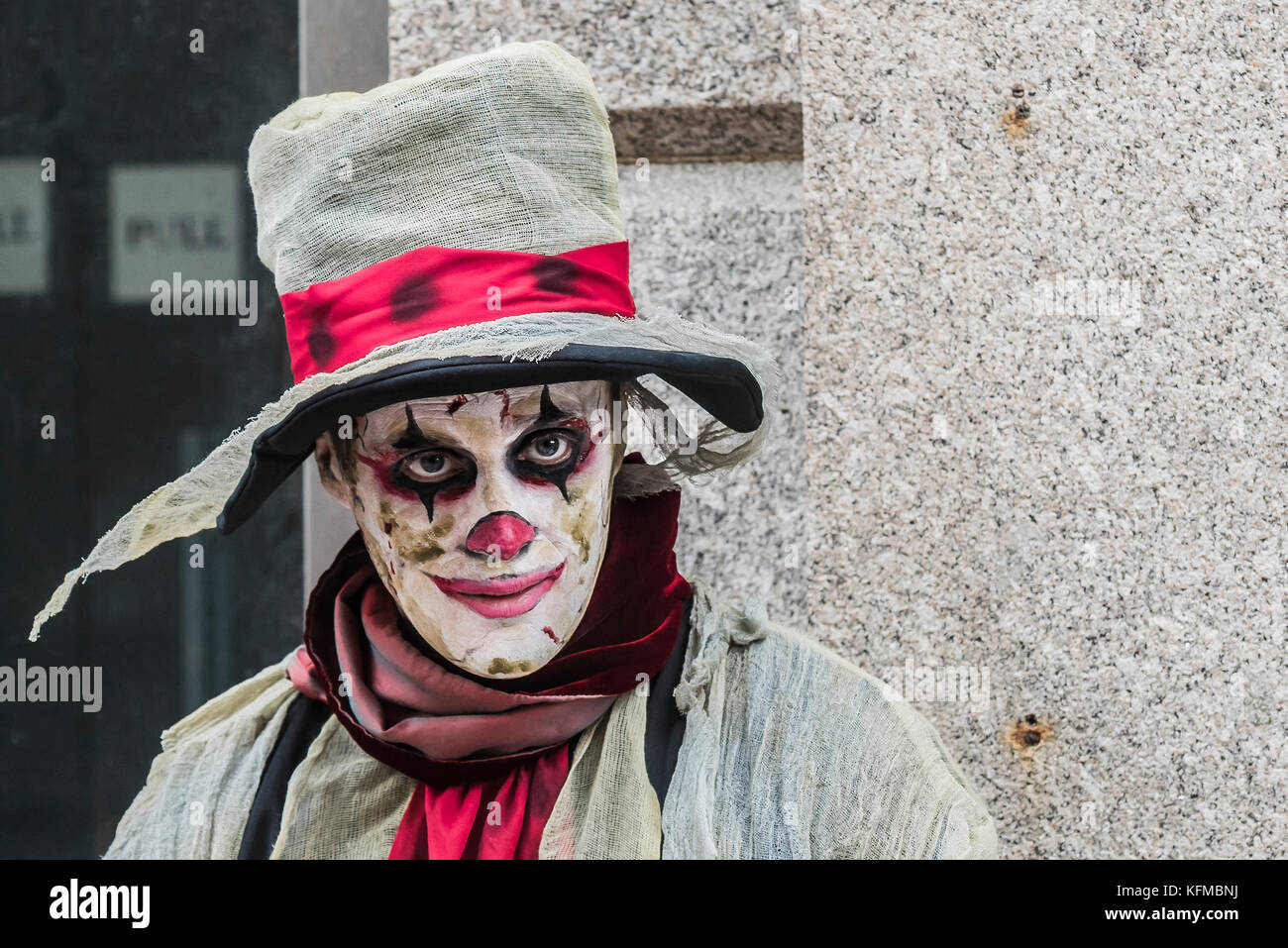 Zombie Crawl - a clown zombie in the annual Zombie Crawl in Newquay, Cornwall. - Stock Image