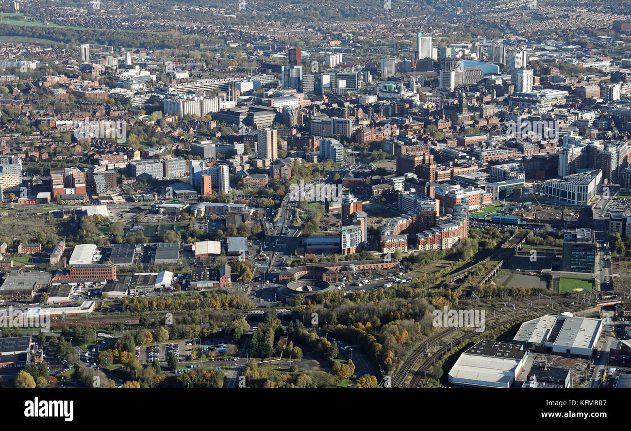 aerial view of the Leeds skyline from the west looking down Wellington Road A58 towards the city centre, UK - Stock Image