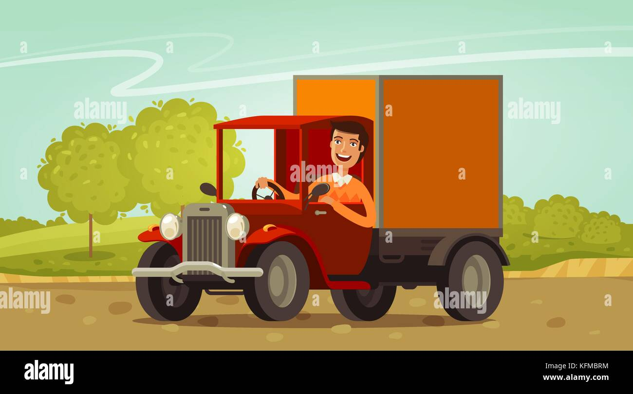 Happy driver rides in retro truck. Delivery, farming concept. Cartoon vector illustration - Stock Image