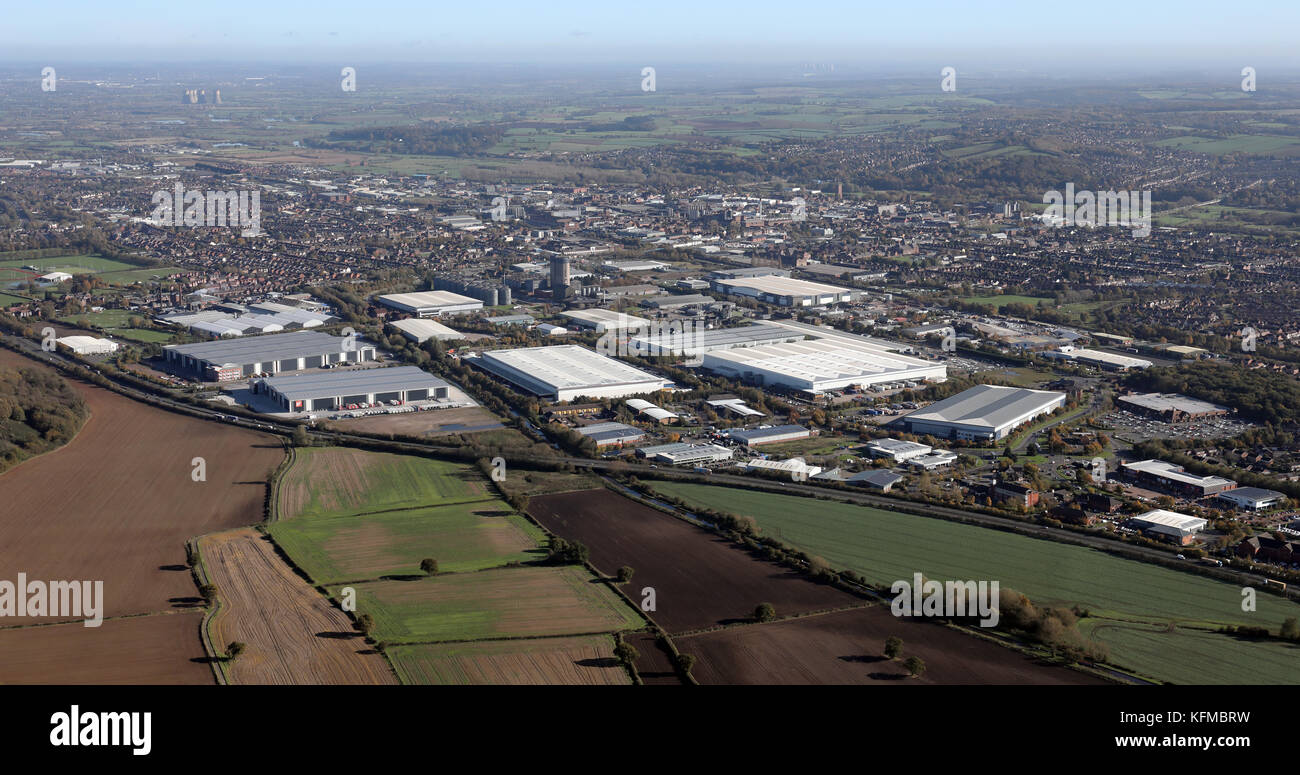 aerial view of the industry at the south west side of Burton-on-Trent, UK Stock Photo