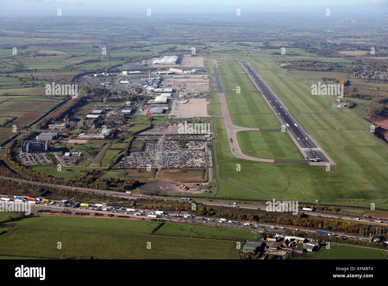 aerial view of East Midlands Airport, Derby, UK - Stock Image