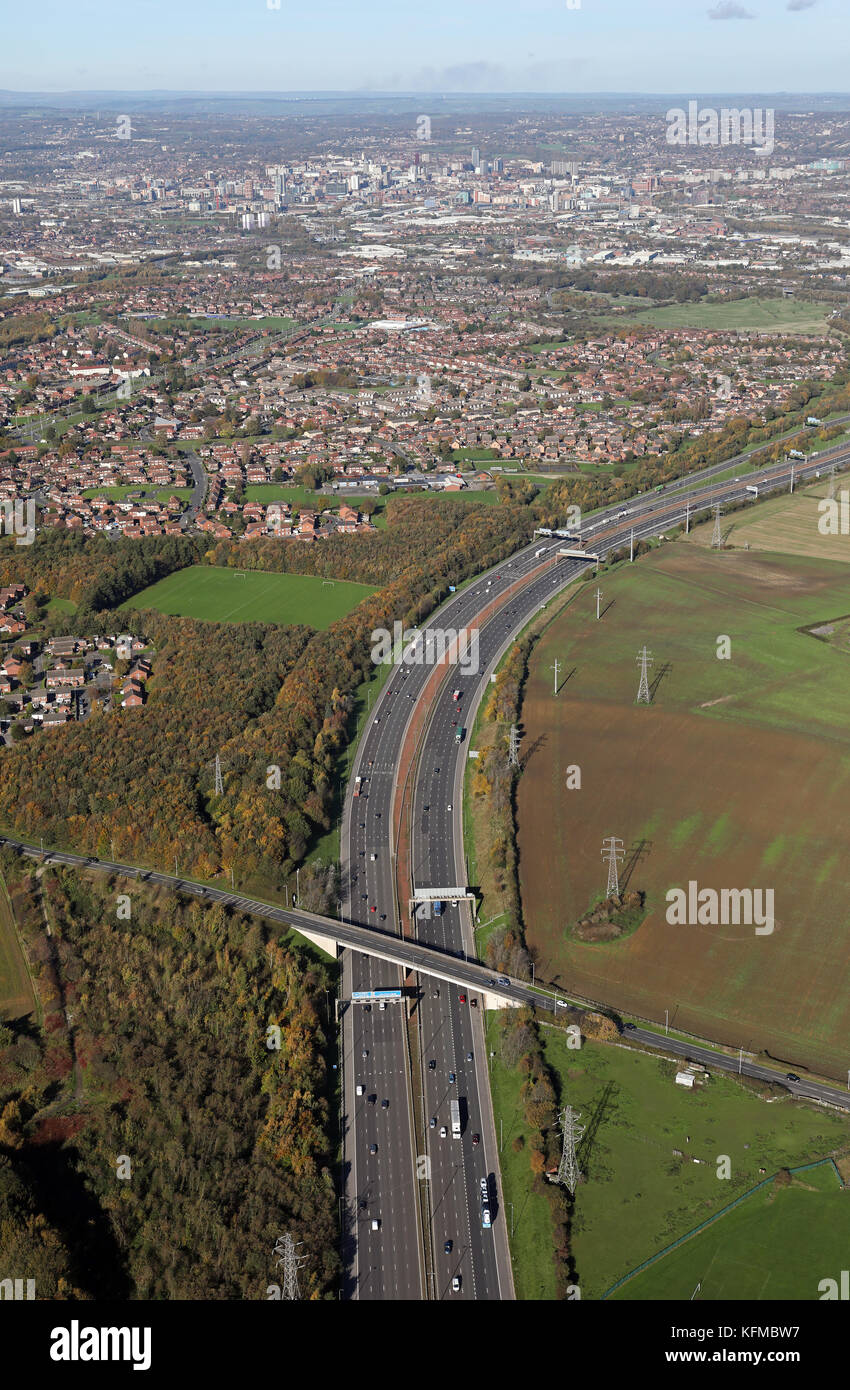 aerial view of the M1 as it heads north to Leeds, West Yorkshire, UK - Stock Image