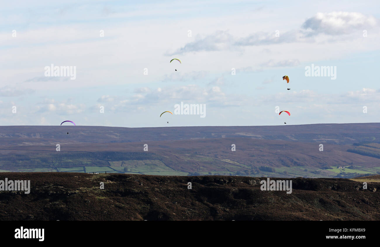 aerial view of paragliders over the North Yorkshire Moors, UK Stock Photo