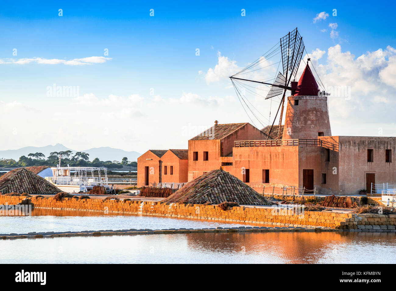 Marsala, Italy. Stagnone Lagoon with vintage windmills and saltwork, Trapani province, Sicily. - Stock Image