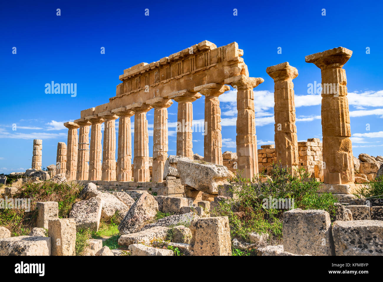 Selinunte, Italy, Sicily. Ancient Greek city on the south-western coast of Sicily in Italy. Acropolis of Selinus. Stock Photo