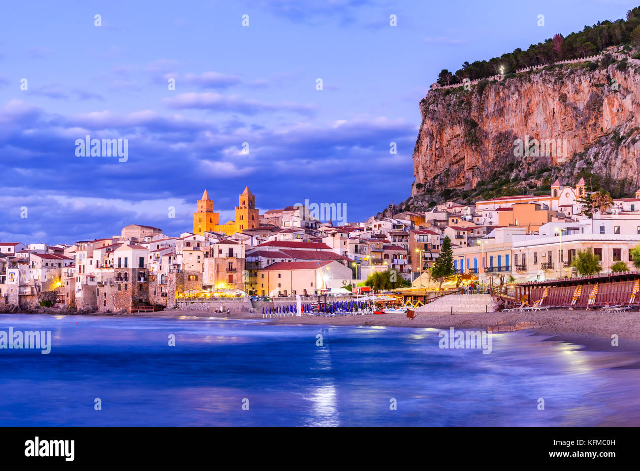 Cefalu, Sicily. Ligurian Sea and medieval sicilian city Cefalu. Province of Palermo, Italy. Stock Photo