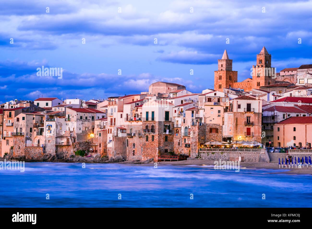 Cefalu, Sicily. Ligurian Sea and medieval sicilian city Cefalu. Province of Palermo, Italy. - Stock Image