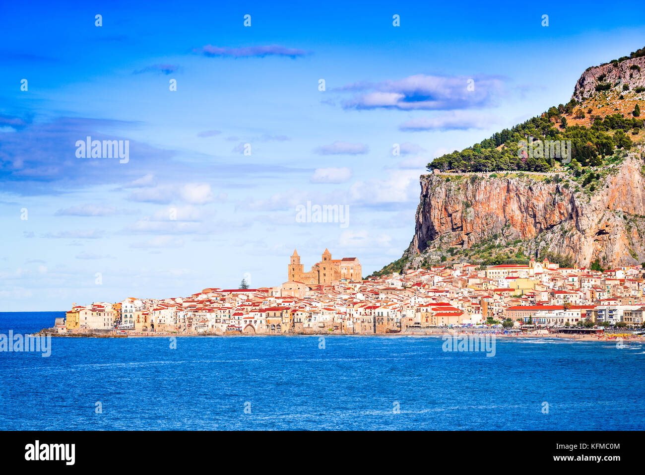 Cefalu, Sicily. Ligurian Sea and medieval sicilian city Cefalu. Province of Palermo, Italy. - Stock Image