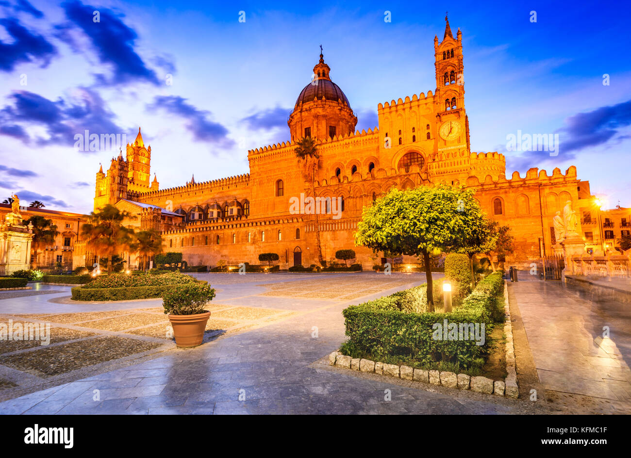 Palermo, Sicily. Twilight view Norman Cathedral of Assumption the Virgin Mary, medieval Italy. - Stock Image