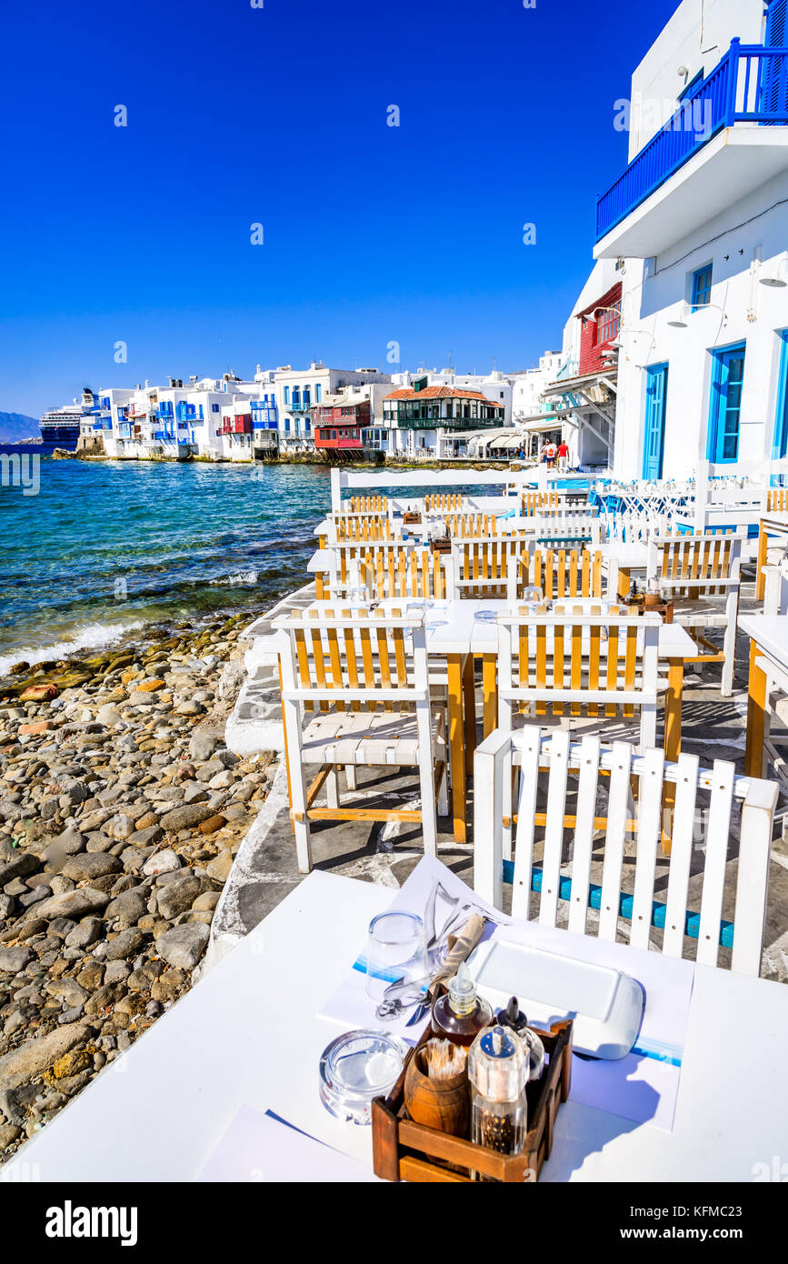 Mykonos - Little Venice waterfront houses, considered one of the most romantic places on the island of Aegean Sea. - Stock Image