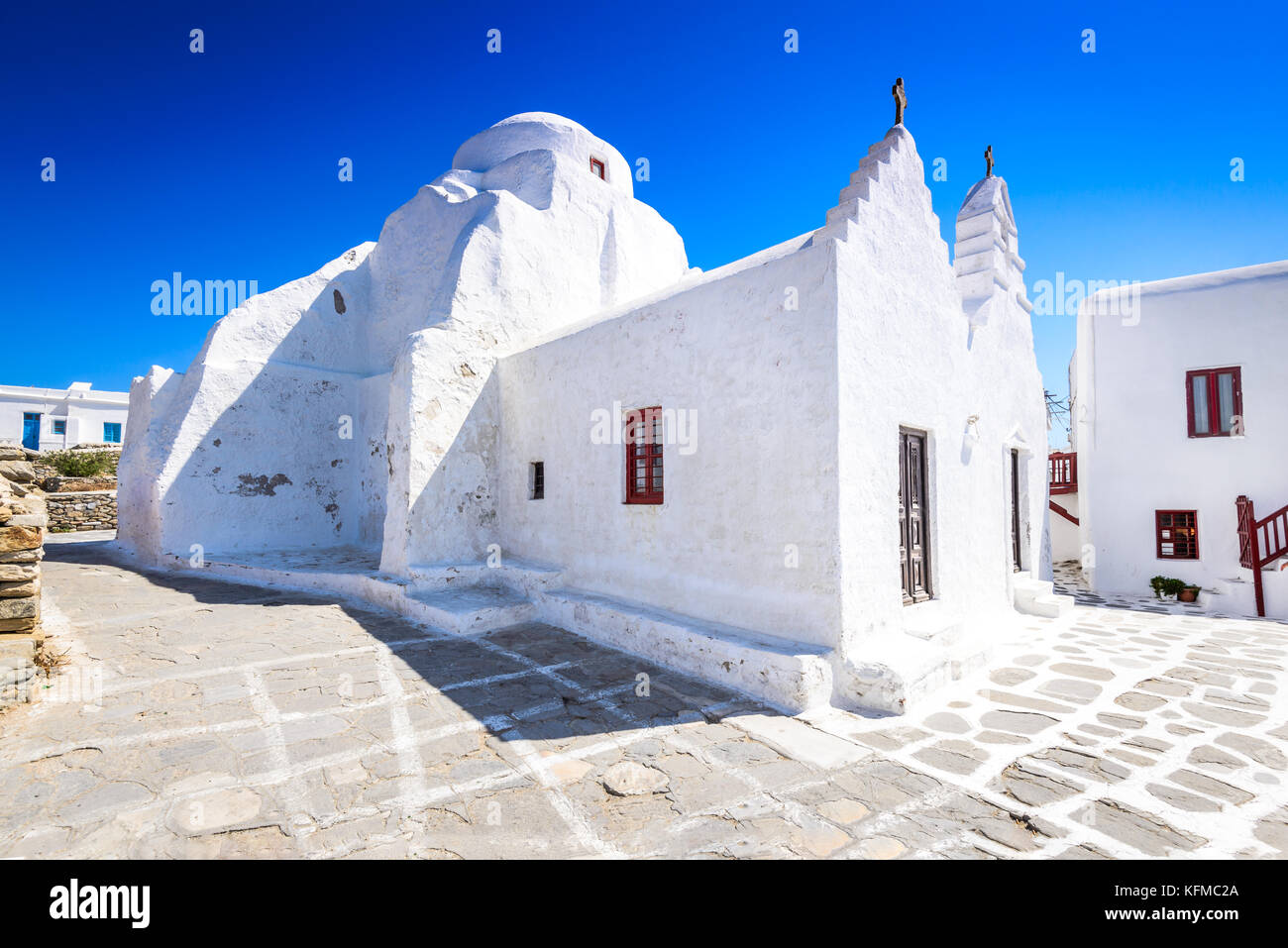Mykonos, Greece. Paraportiani, one of the most famous architectural structures in Greek Islands. - Stock Image